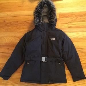 Girls North Face 14/16 Black Hyvent 550 Jacket